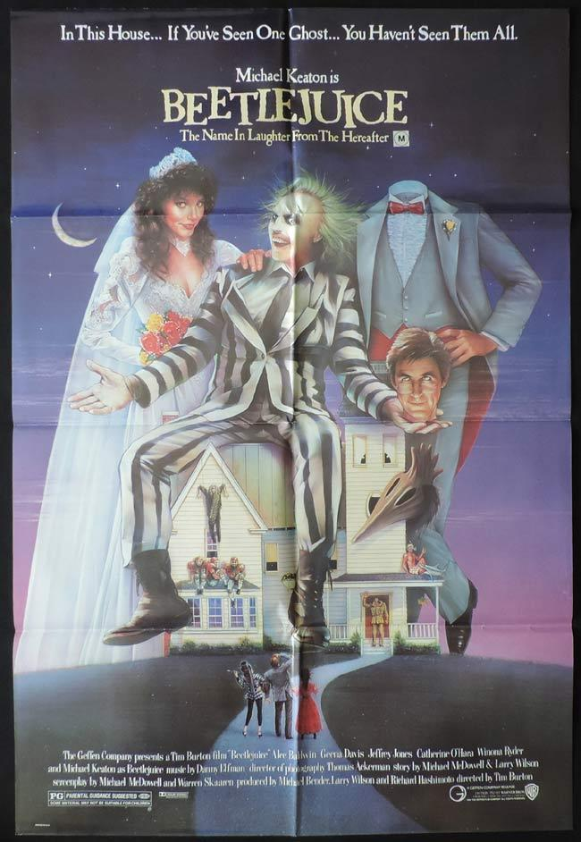 BEETLEJUICE Original One sheet Movie Poster Alec Baldwin Michael Keaton