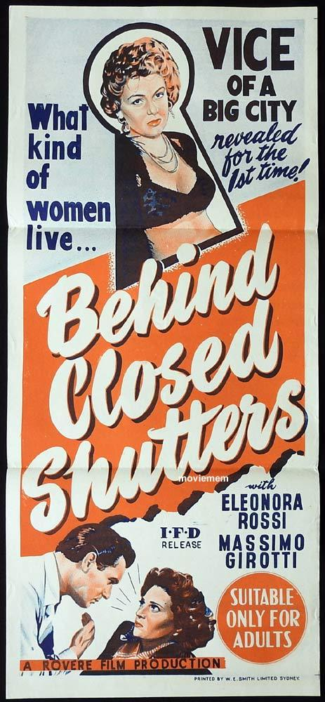BEHIND CLOSED SHUTTERS Original Daybill Movie poster Bad Girl Film Noir