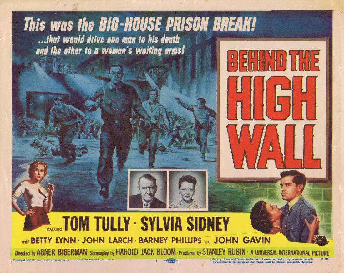 BEHIND THE HIGH WALL Title Lobby Card Tom Tully Sylvia Sidney.
