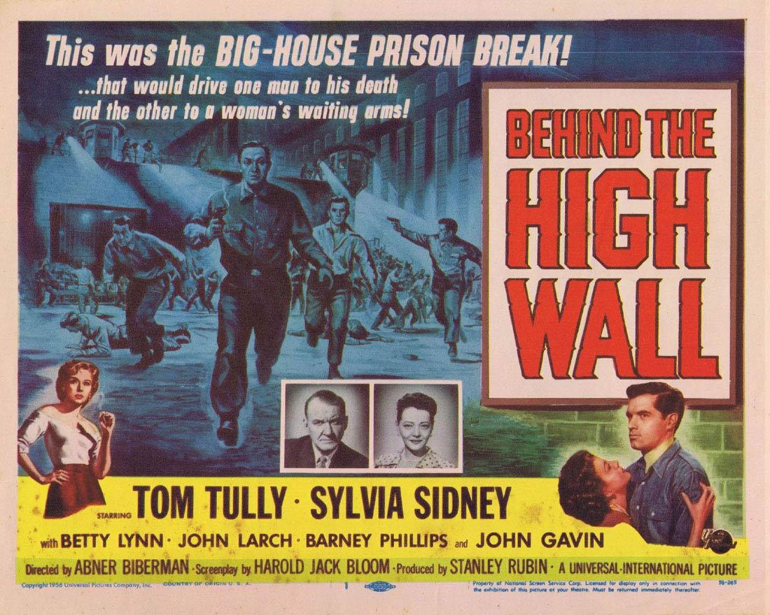 BEHIND THE HIGH WALL '56 Sylvia Sidney Title Lobby Card