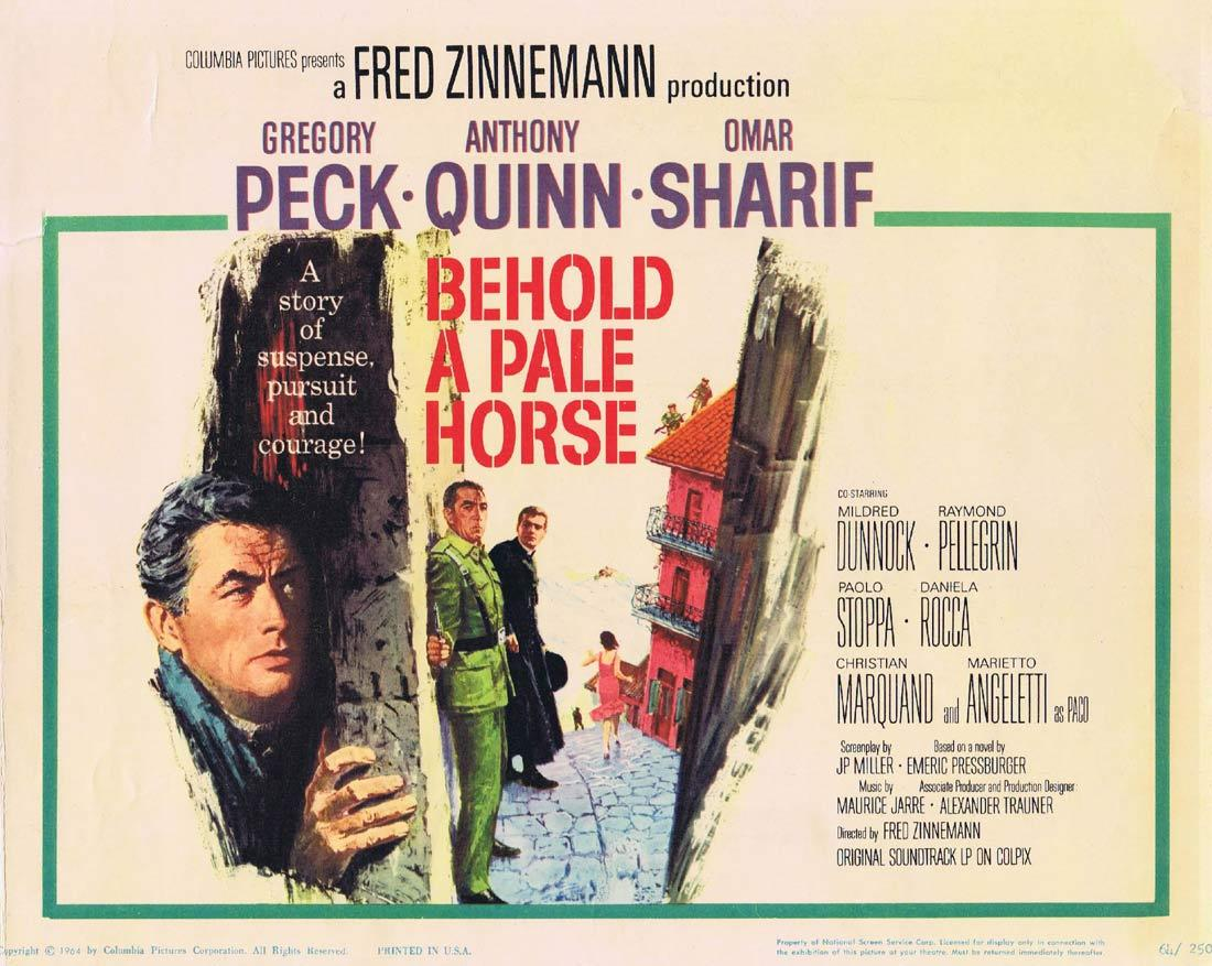 BEHOLD A PALE HORSE Title Lobby Card Gregory Peck Anthony Quinn Omar Sharif