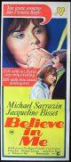 BELIEVE IN ME SARRAZIN Australian daybill Movie Poster Michael Sarrazin Jacqueline Bisset