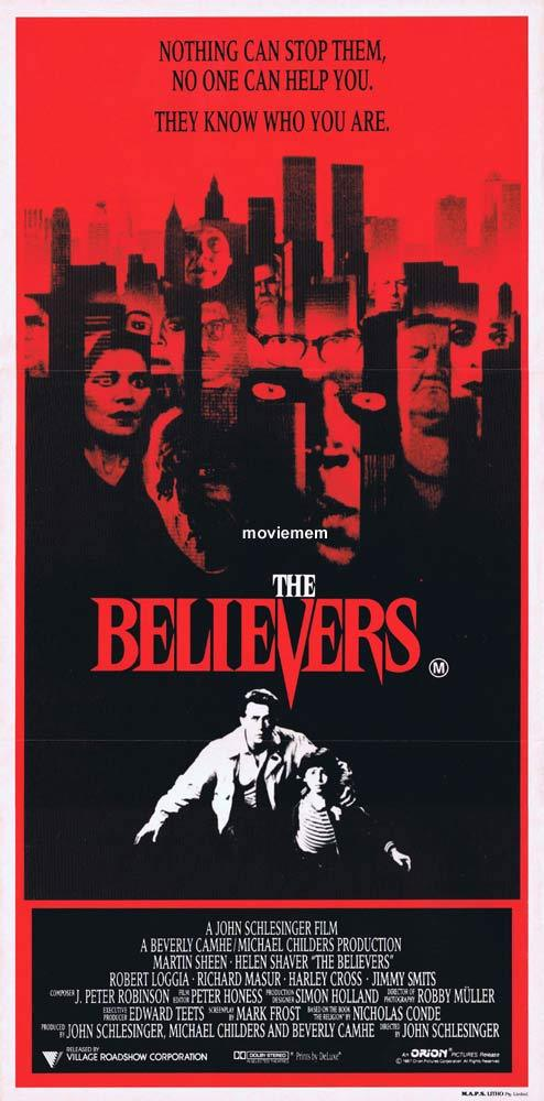 THE BELIEVERS Original Daybill Movie poster Martin Sheen Robert Loggia