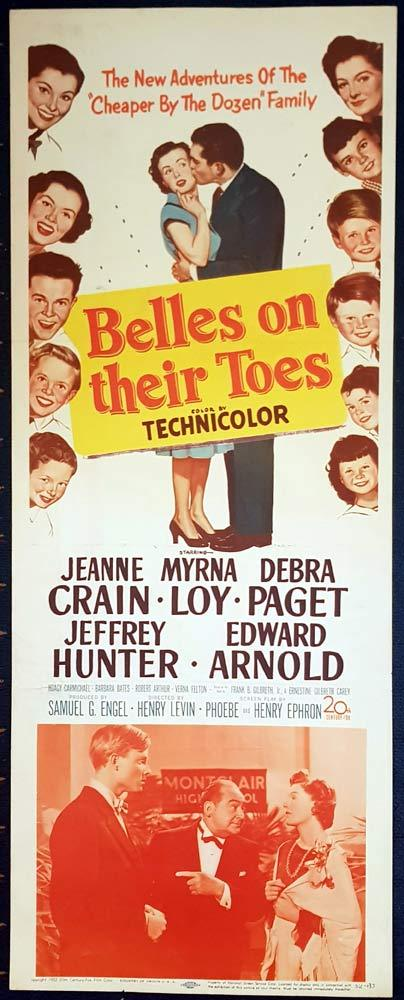 BELLES ON THEIR TOES Original US Insert Movie Poster Jeanne Crain Myrna Loy