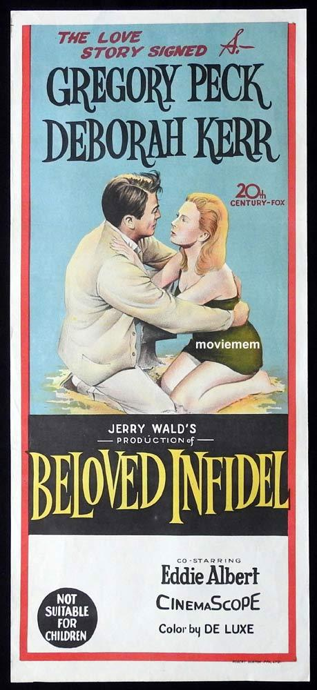 BELOVED INFIDEL Original Daybill Movie Poster Gregory Peck Deborah Kerr