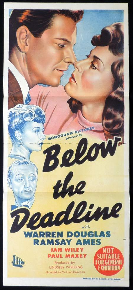 BELOW THE DEADLINE Original Daybill Movie Poster Warren Douglas Film Noir