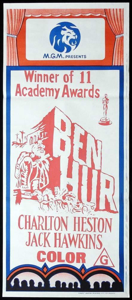 BEN HUR Original 70s MGM Stock Daybill Movie poster Charlton Heston