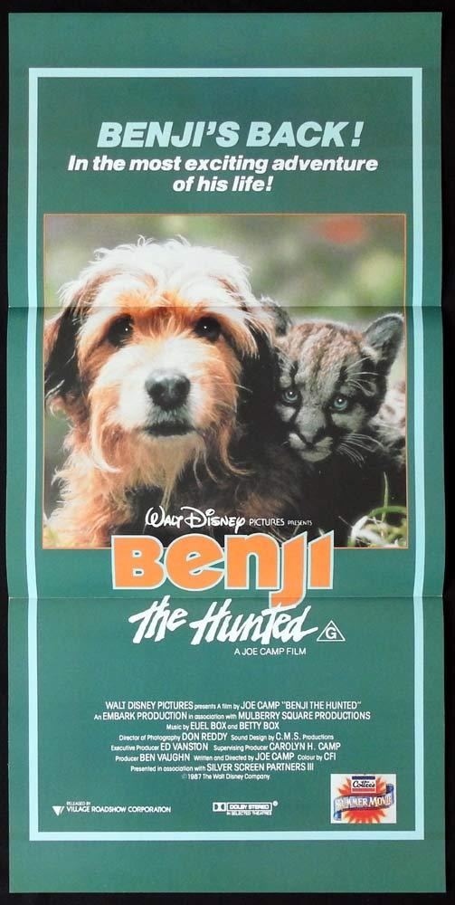 BENJI THE HUNTED Original Daybill Movie poster Disney Joe Camp
