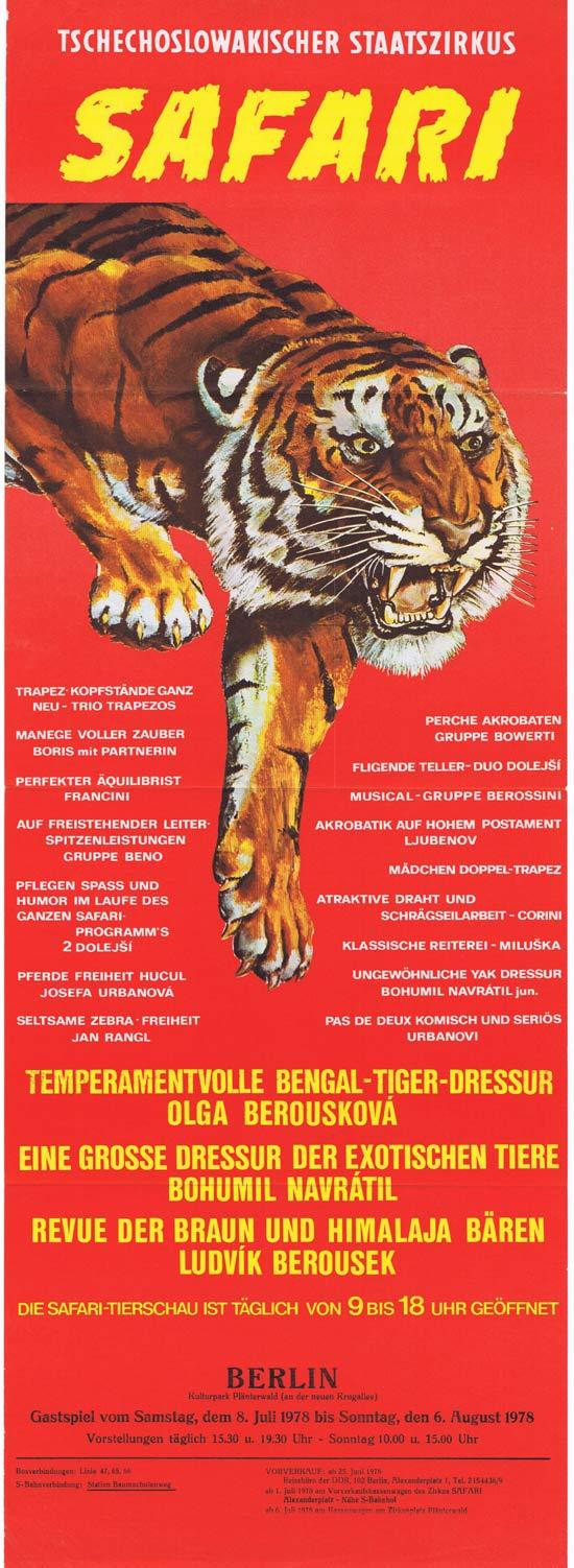 BERLIN CIRCUS Original Poster TIGER ART Safari 1978