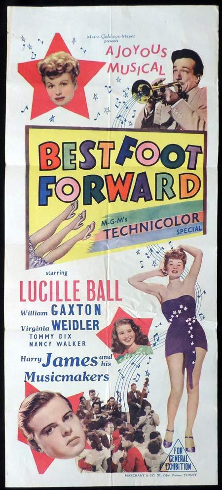 BEST FOOT FORWARD Original Daybill Movie Poster Lucille Ball Marchant Graphics