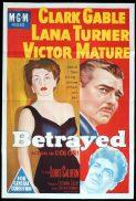 BETRAYED Original One sheet Movie Poster Clark Gable Victor Mature Lana Turner
