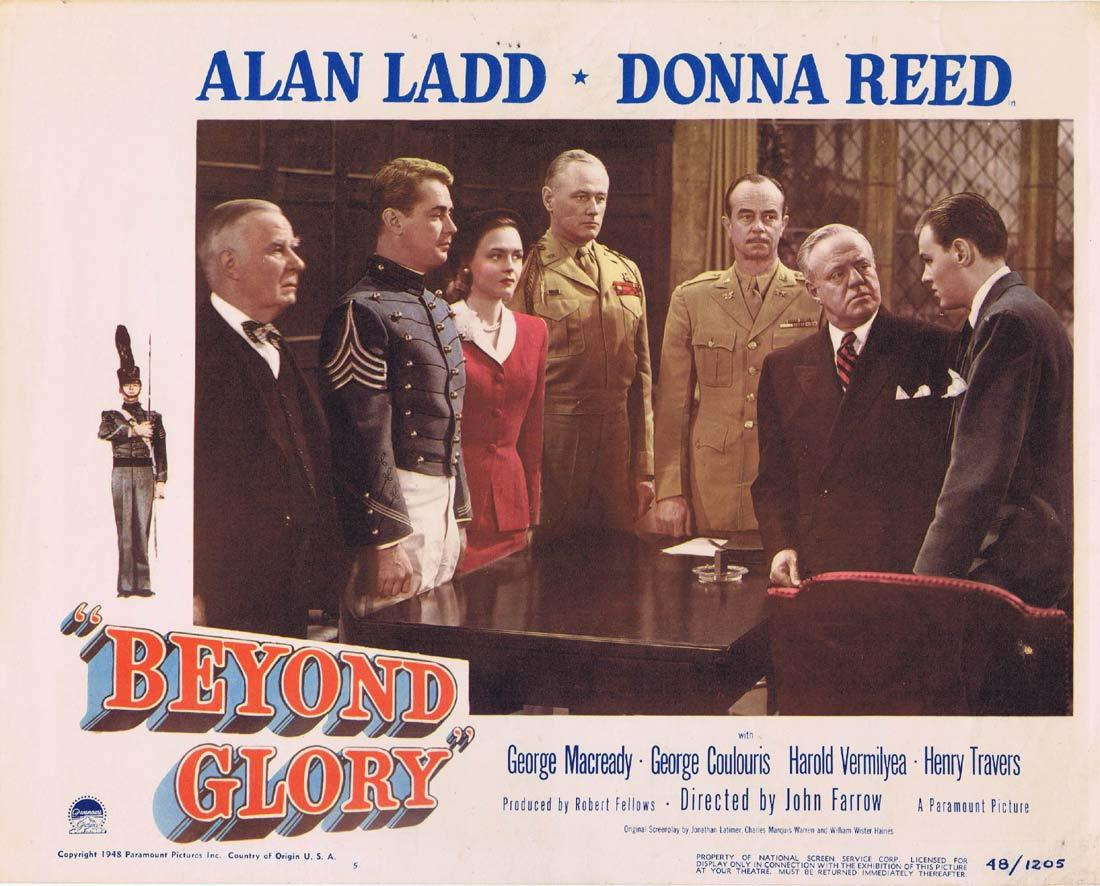 BEYOND GLORY Vintage Lobby Card Alan Ladd Donna Reed George Macready