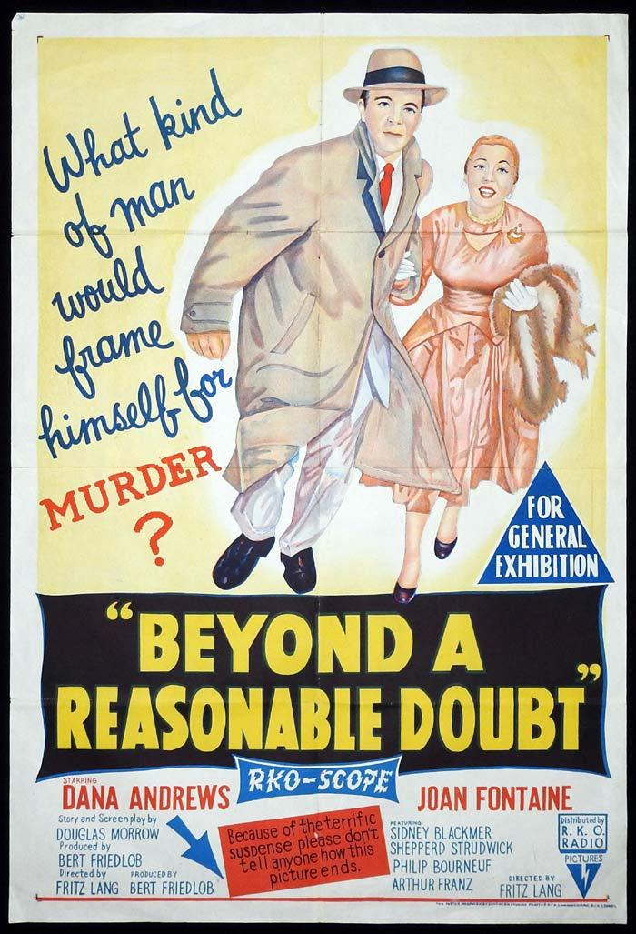 Beyond a Reasonable Doubt, Fritz Lang, Dana Andrews Joan Fontaine