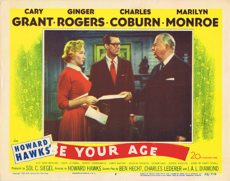 BE YOUR AGE aka MONKEY BUSINESS Marilyn Monroe Original Lobby Card 2