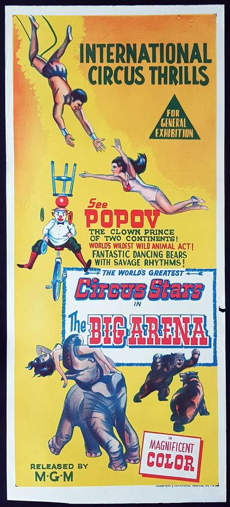 THE BIG ARENA Original Daybill Movie Poster CIRCUS Popov the Clown