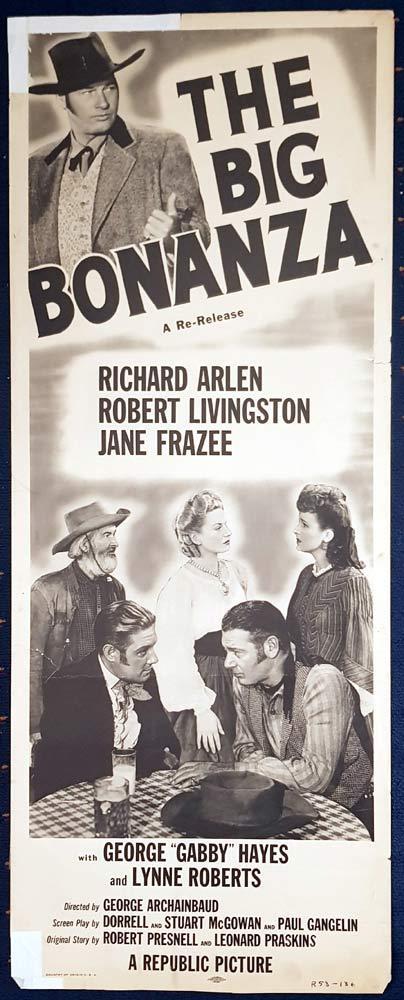 THE BIG BONANZA Movie Poster Richard Arlen US Insert