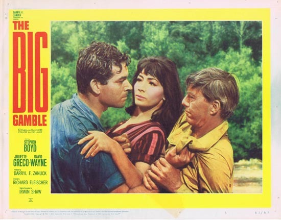 THE BIG GAMBLE 1961 Lobby Card 5 Juliette Greco Stephen Boyd