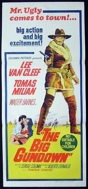 THE BIG GUNDOWN Movie Poster 1953 Lee Van Cleef spaghetti western RARE daybill