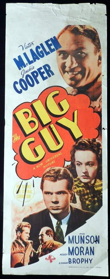 THE BIG GUY Movie Poster 1939 Victor McLaglen RARE Long daybill