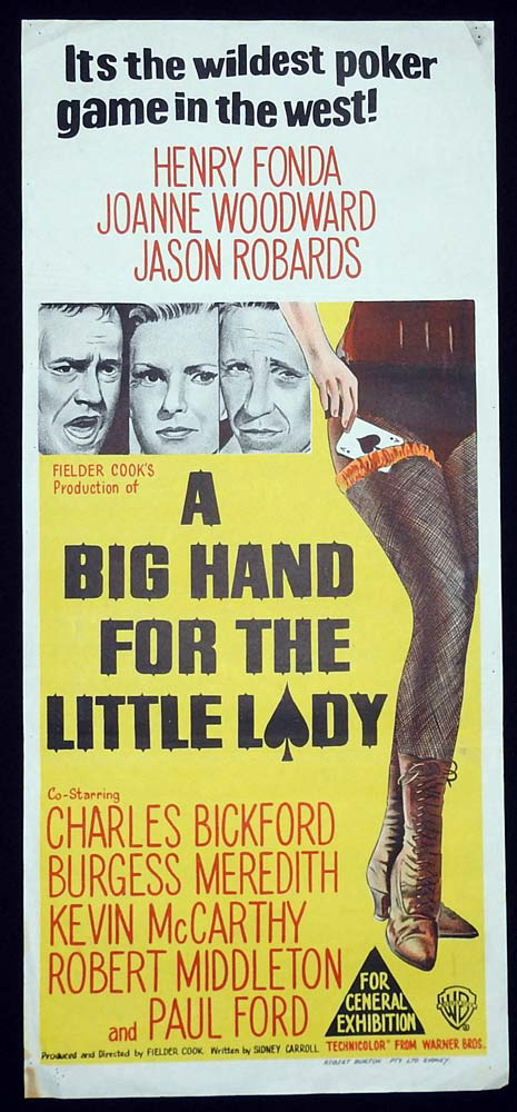 A BIG HAND FOR A LITTLE LADY Original Daybill Movie Poster Joanne Woodward