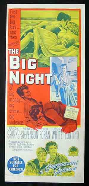 THE BIG NIGHT Original Daybill Movie poster RICHARDSON STUDIO Dick Foran