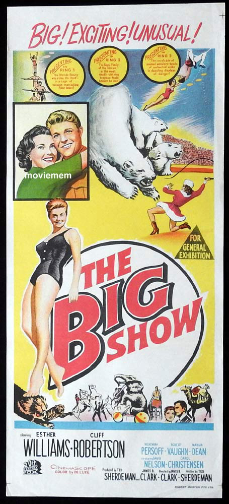 THE BIG SHOW Original Daybill Movie Poster Esther Williams Circus Cliff Robertson