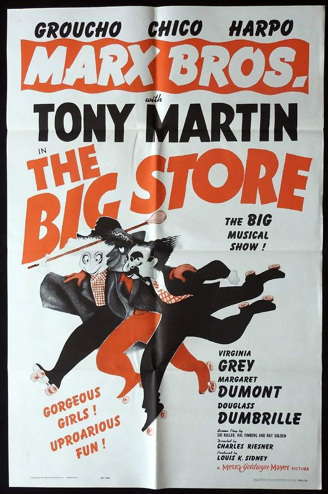 THE BIG STORE Original 1962 US One sheet Movie Poster The Marx Brothers