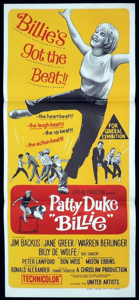 BILLIE Original Daybill Movie poster PATTY DUKE Jim Backus