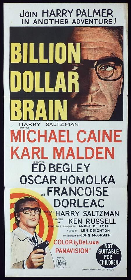 BILLION DOLLAR BRAIN Original Daybill Movie Poster Michael Caine as Harry Palmer