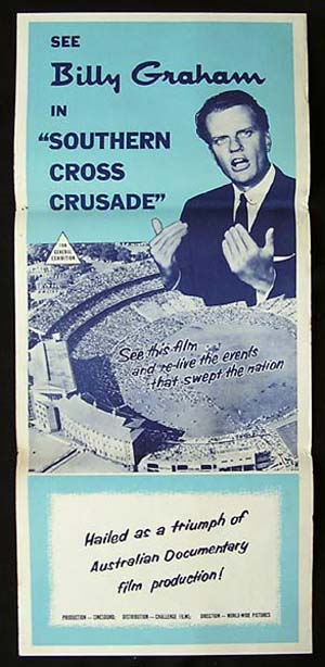 BILLY GRAHAM Original Daybill Movie Poster Australian Tour 1959