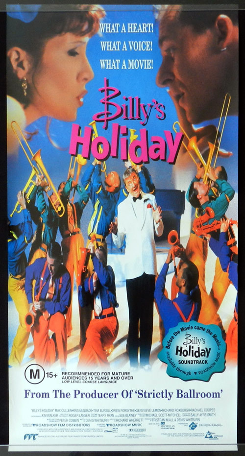 BILLY'S HOLIDAY Australian Daybill Movie poster 1997 Max Cullen