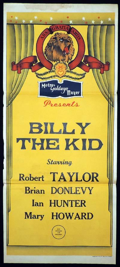 BILLY THE KID Daybill Movie poster ROBERT TAYLOR 1940s