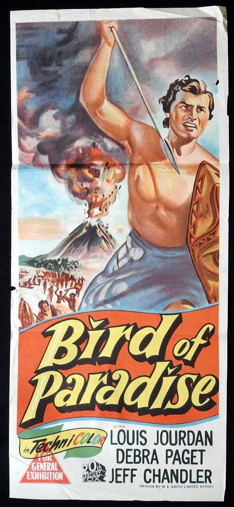 BIRD OF PARADISE Original Daybill Movie poster Debra Paget Louis Jourdan Jeff Chandler