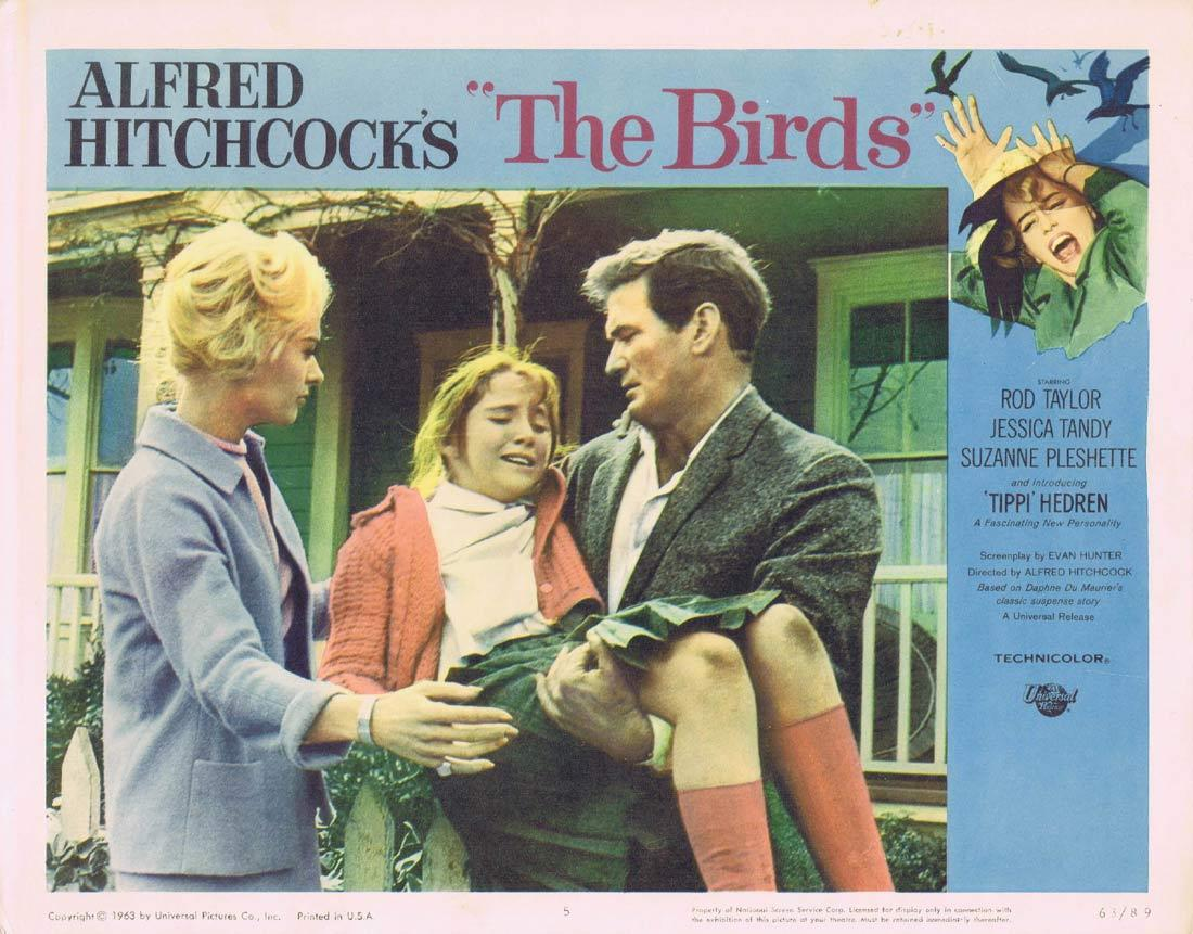 THE BIRDS Original Lobby Card 5 Rod Taylor Tippi Hedren Alffred HItchcock