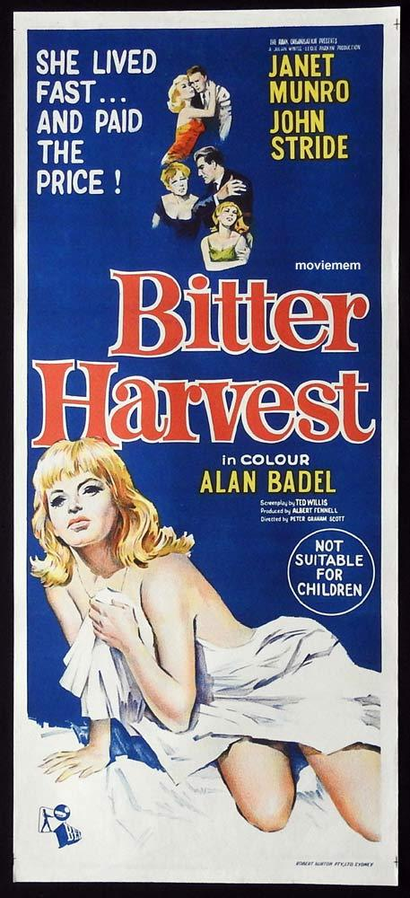 BITTER HARVEST Original Daybill Movie Poster Janet Munro John Stride Alan Badel
