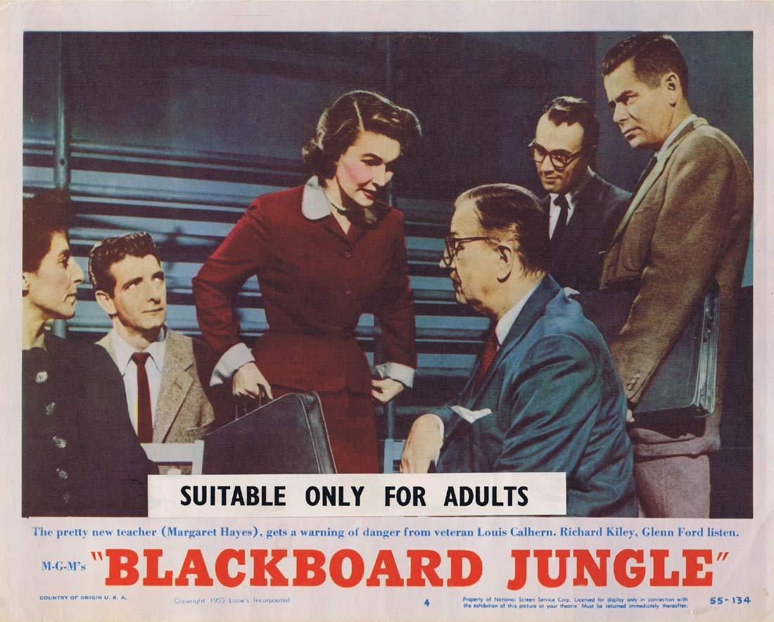BLACKBOARD JUNGLE Original Lobby Card 4 Glenn Ford Sidney Poitier Vic Morrow