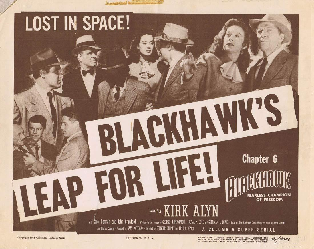 BLACKHAWK Original Lobby Card Chapter 6 Columbia Serial Kirk Alyn Carol Forman