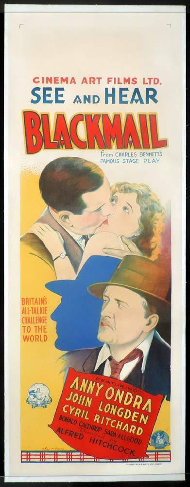 BLACKMAIL Original LINEN BACKED Daybill Movie Poster Alfred Hitchcock