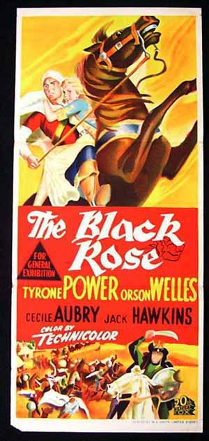 THE BLACK ROSE Daybill Movie poster Tyrone Power