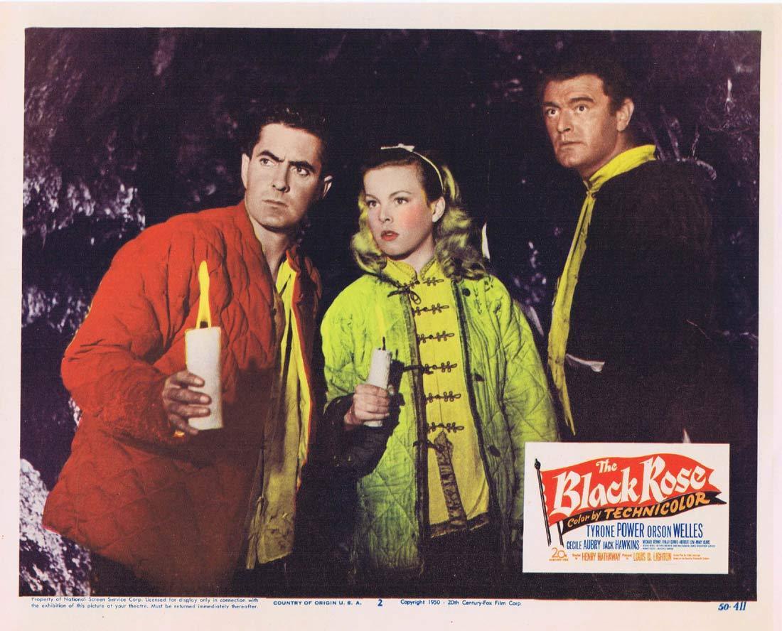 THE BLACK ROSE Original Lobby Card 2 Tyrone Power Cécile Aubry Jack Hawkins