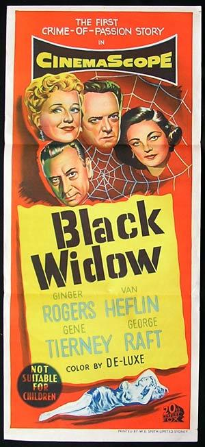 BLACK WIDOW Daybill Movie Poster Gene Tierney Ginger Rogers