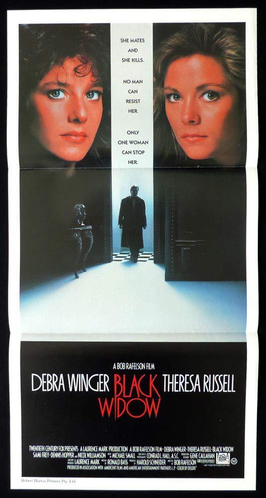 BLACK WIDOW Rare Daybill Movie poster Debra Winger Theresa Russell Sami Frey