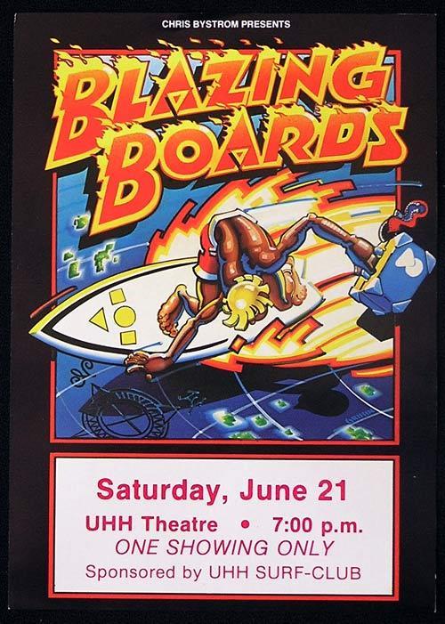 BLAZING BOARDS 1985 Chris Bystrom Rare Surfing Movie Flyer