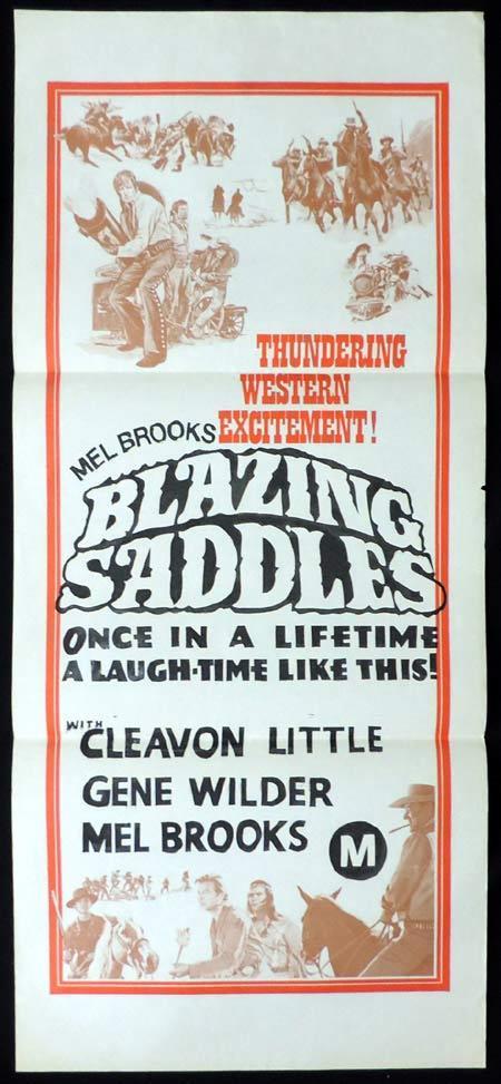 BLAZING SADDLES Original Stock 70sr Daybill Movie Poster Mel Brooks