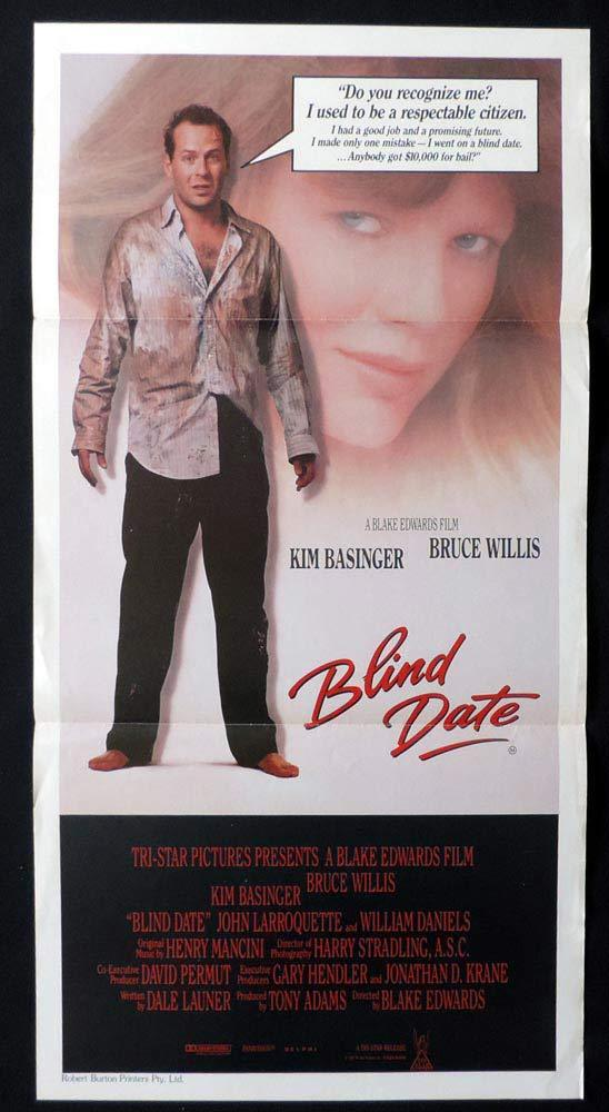 BLIND DATE Original Daybill Movie poster Kim Basinger Bruce Willis Blake Edwards