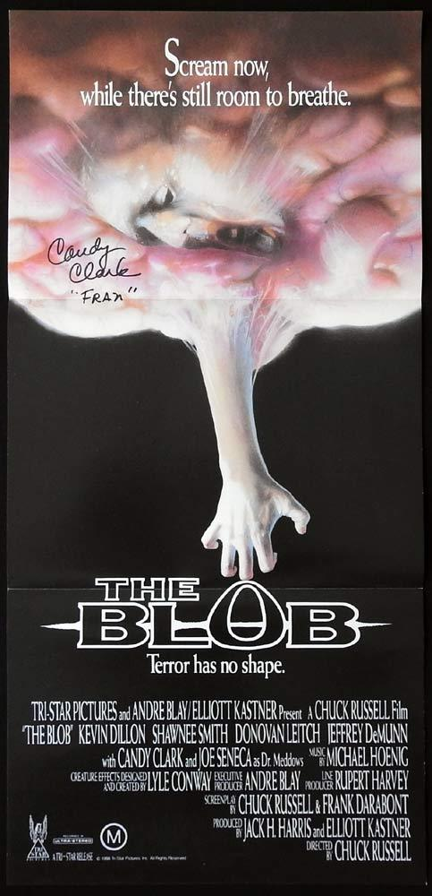 THE BLOB Original Daybill Movie poster Chucky AUTOGRAPHED by CANDY CLARK