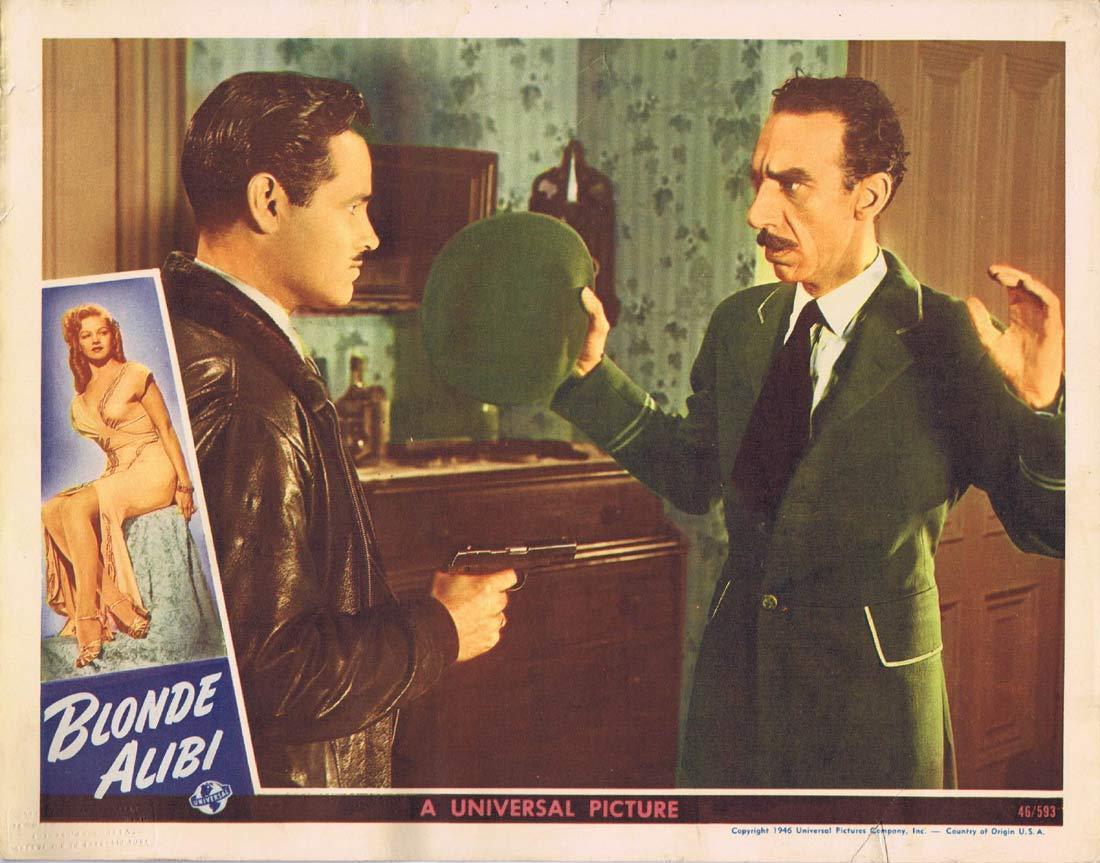 BLONDE ALIBI Original Lobby card 2 Tom Neal Film Noir 1946