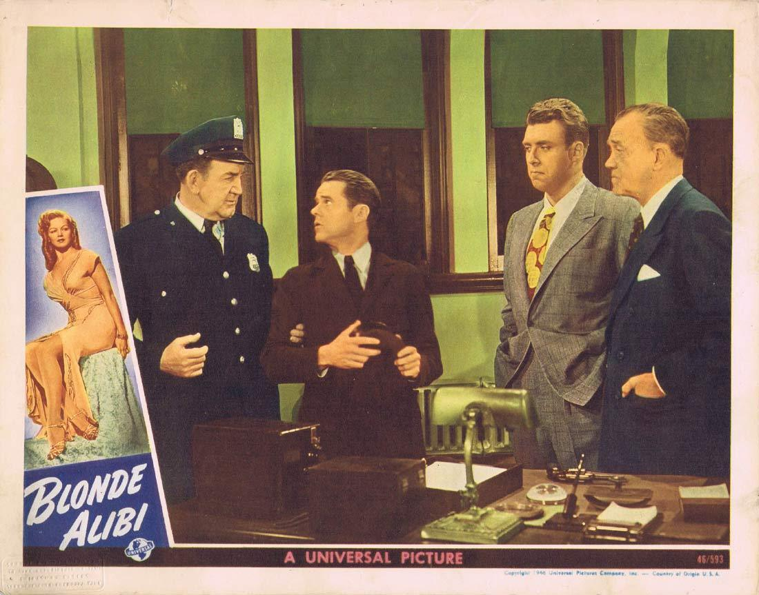 BLONDE ALIBI Original Lobby card 3 Tom Neal Film Noir 1946