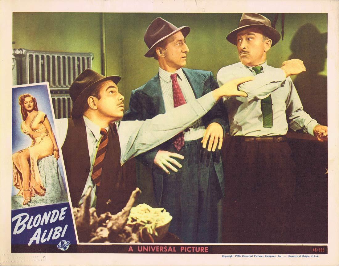 BLONDE ALIBI Original Lobby card 4 Tom Neal Film Noir 1946
