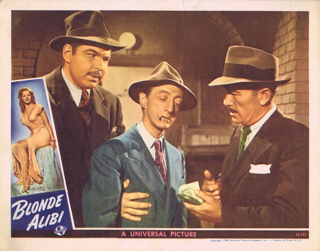 BLONDE ALIBI Original Lobby card 5 Tom Neal Film Noir 1946